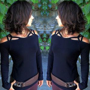 Long sleeves cold shoulder strappy top NWOT black